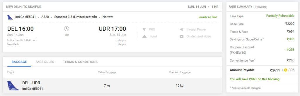 Airfare from delhi to udaipur