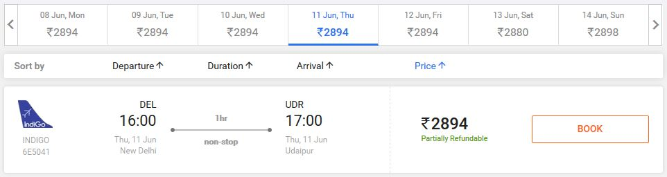Flights from Delhi to Udaipur